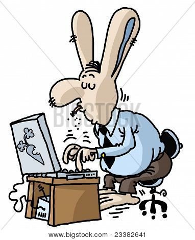 Funny rabbit on computer.