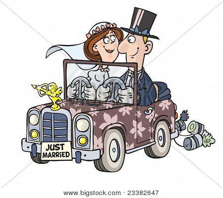Cartoon wedding car.