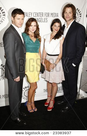 BEVERLY HILLS - MAR 13:  Jensen Ackles, wife Danneel Harris, Genevieve Cortese, Jared Padalecki arriving at the Paleyfest 2011 event honoring Supernatural in Beverly Hills, CA on March 13, 2011.
