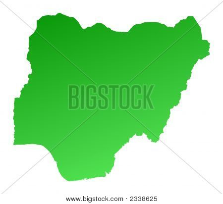 Green Gradient Nigeria Map