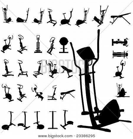 Fitness equipment silhouettes