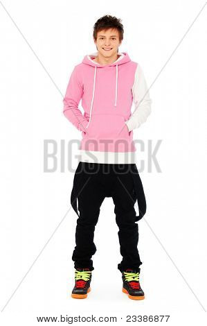 portrait of smiley guy in pink sweatshirt over white background