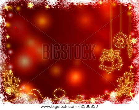 3D Golden Christmas Bells, Snowflakes, Stars And Cones