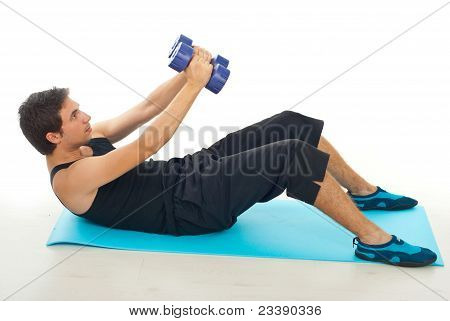 Man Doing Fitness With Barbell
