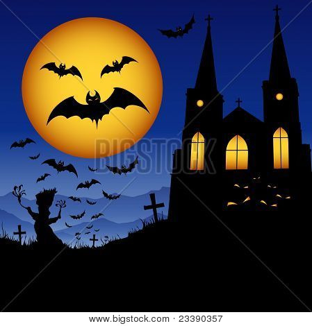 Halloween bat and house on the moon