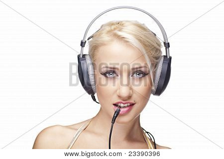 Smiling Model With Headphones On