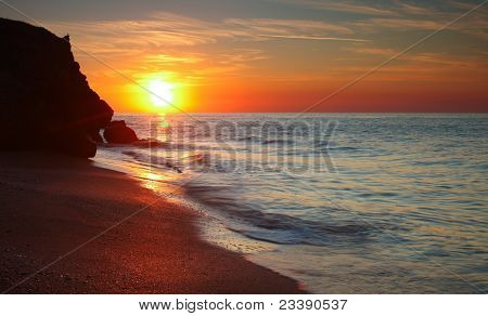 Sun Setting At The Sea Of Azov Background