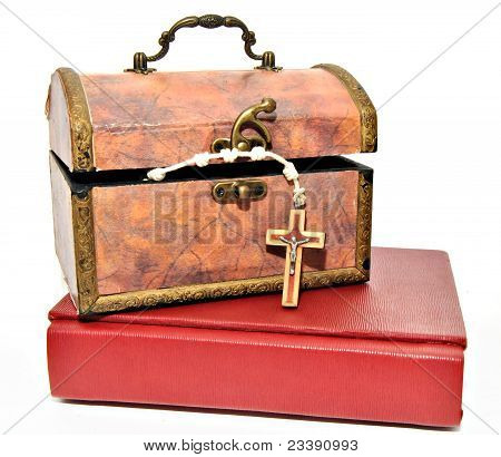 Box with Rosary and Bible