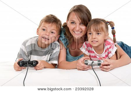 Happy family playing a video game