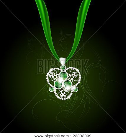 jewelry pendant with green gems