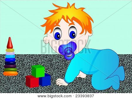 Small Child With Toy Cube And Pyramid