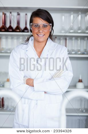 Portrait Of A Female Science Student Posing