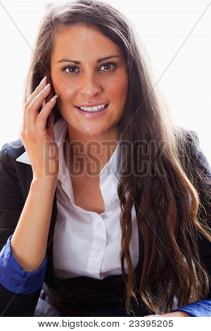 Portrait Of A Smiling Woman On The Phone