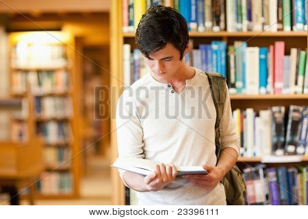 Serious Student Reading A Book
