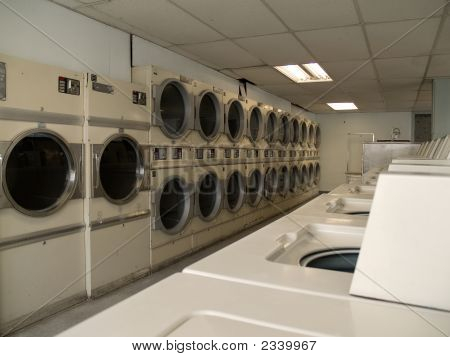 Dryers In An Old Laundry Mat