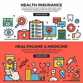 Health Insurance, Healthcare And Medicine Web Banners Set. Line Art Concepts. Creative Modern Flat D poster
