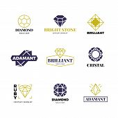Diamond Logost. Abstract Luxury Vector Labels With Sparkle Brilliant. Luxury Label And Diamond, Bril poster