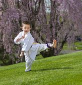 foto of jiujitsu  - Young boy practicing martial arts outside in spring - JPG