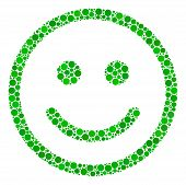 Glad Smiley Collage Of Round Dots In Different Sizes And Color Hues. Circle Elements Are Composed In poster