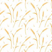 Whole Grain, Natural, Organic Background For Bakery Package, Bread Products. Ear Seamless Pattern On poster