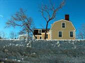 stock photo of marblehead  - Stone wall frozen after storm - JPG