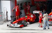 SEPANG, MALAYSIA - APRIL 8: Felipe Massa of Ferrari team leaves pit to start his practice run on the