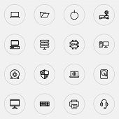 Hardware Icons Line Style Set With Internet, Headphones, Winchester And Other Protect  Elements. Iso poster