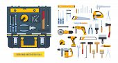 Repair And Construction Tools Concept. Working Case With Tools For Measuring, Dismantling, Clogging  poster