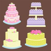 Wedding Cake Pie Sweets Dessert Bakery Flat Simple Style Vector Illustration.. Fresh Tasty Dessert S poster