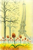 Close-up Of Blooming Tulips In The Trocadero Square In Paris. In The Background, The Eiffel Tower An poster