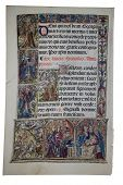 foto of triptych  - Illuminated page from a fourteenth century book of hours with text depicting St - JPG