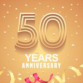 50 Years Anniversary Vector Icon, Logo. Graphic Design Element With Golden Numbers And Festive Backg poster