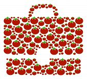 Case Collage Of Tomatoes In Variable Sizes. Vector Tomatoes Items Are United Into Case Pattern. Vege poster