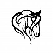 Creative Silhouette Illustration Tribal Vector Head Of Horse Design Concept. Simple Animal Wildlife. poster