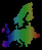 Dotted Pixel European Union Map. Vector Geographic Map In Bright Spectrum Colors On A Black Backgrou poster