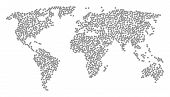World Composition Map Organized Of Boat Steering Wheel Icons. Vector Boat Steering Wheel Scatter Fla poster