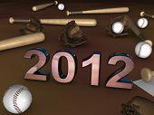 Постер, плакат: 2012 В середине бейсбол Batts шаров и перчатки