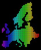 Spectrum Dotted European Union Map. Vector Geographic Map In Bright Colors On A Black Background. Co poster