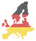 A Dotted Pixel European Union Map. Vector Geographic Map In Germany Flag Colors On A White Backgroun poster