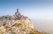 Man Making Lotus Pose And Meditating poster
