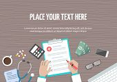 Conceptual Horizontal Banner With Place For Text, Flat Design. Workplace Of Doctor, Hands Fill Out M poster