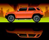 Orange sports utility vehicle