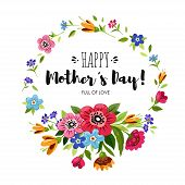 Happy Mothers Day Card With And Round Flowers Frame. Lettering Happy Mothers Day. Vector Floral Wr poster