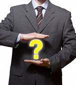 stock photo of question-mark  - hi res image of business man with question mark - JPG