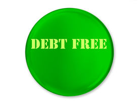 image of debt free  - A Green Glossy Debt Free Button With Yellow Text - JPG