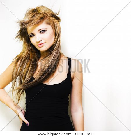 Pretty Woman With Trendy New Hairstyle