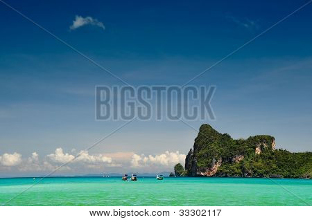 Beach and mountain landscape