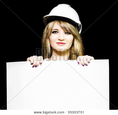 Female Architect Holding Blank Blueprint Design