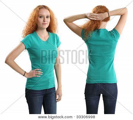 Pretty Female Wearing Blank Green Shirt