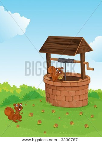 Illustration of squirrels at a well - EPS VECTOR format also available in my portfolio.